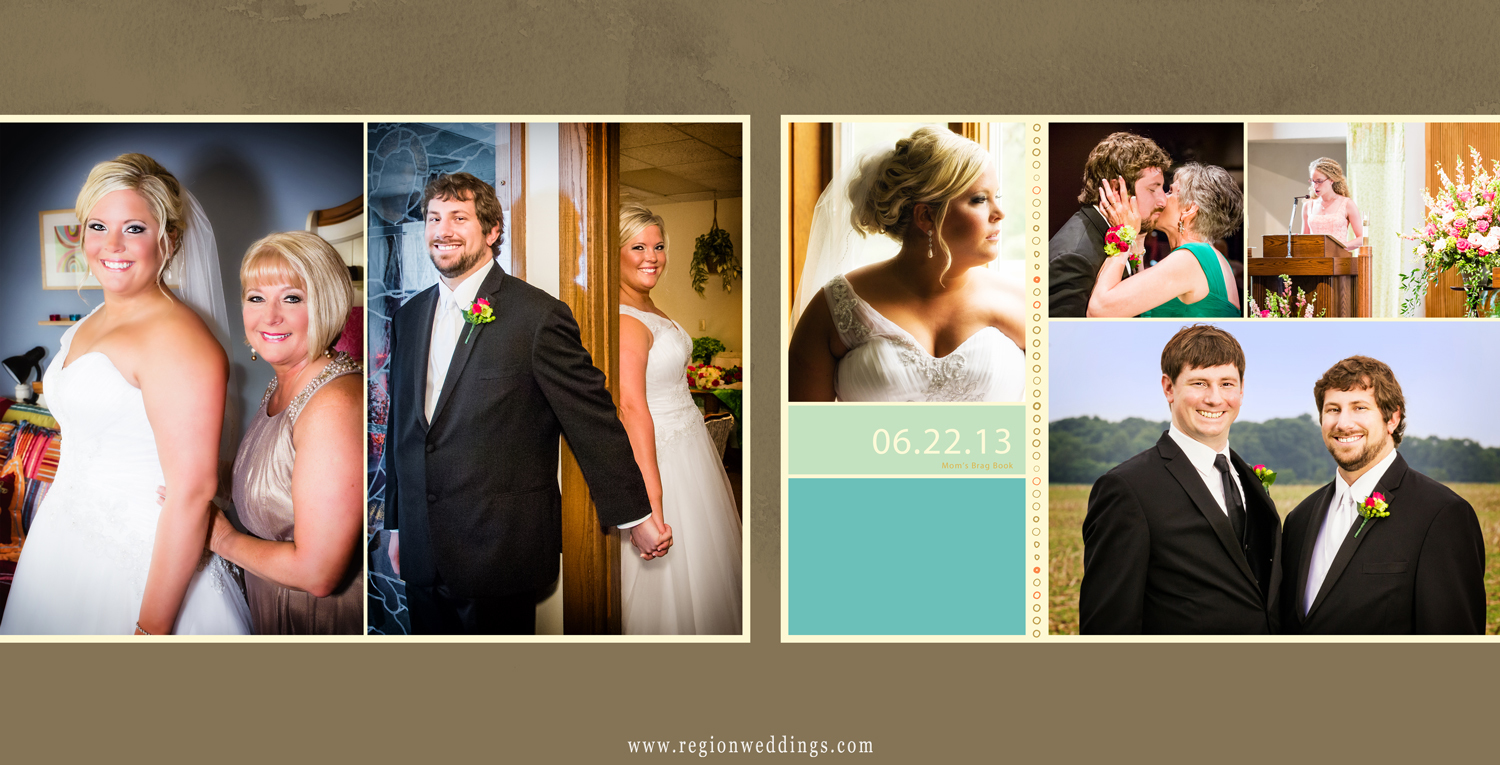 A two page spread of a square sized Mom's Brag Book filled with wedding photos.