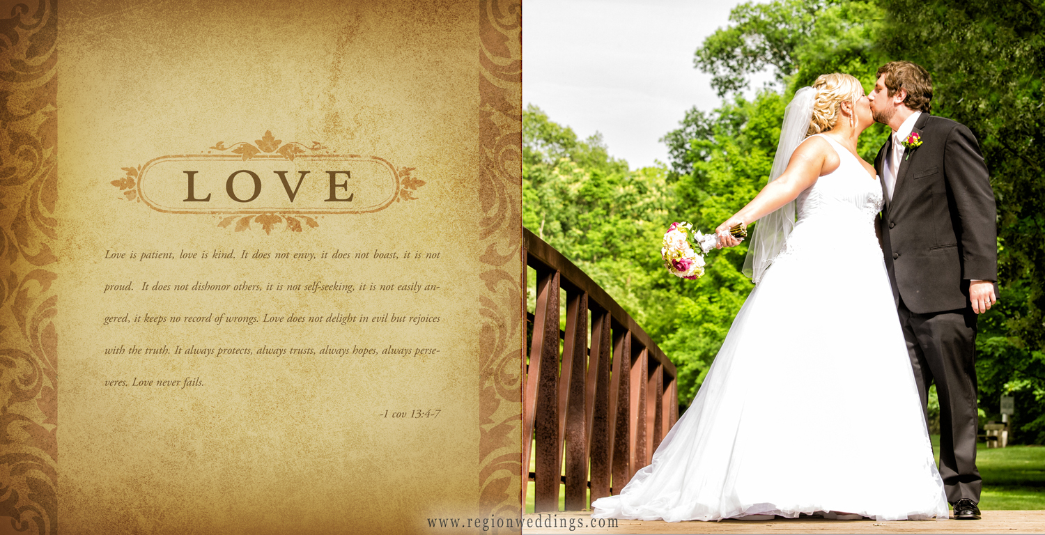 Custom designed page of a mom's brag book with quotes of love pertaining to their loved one's wedding.