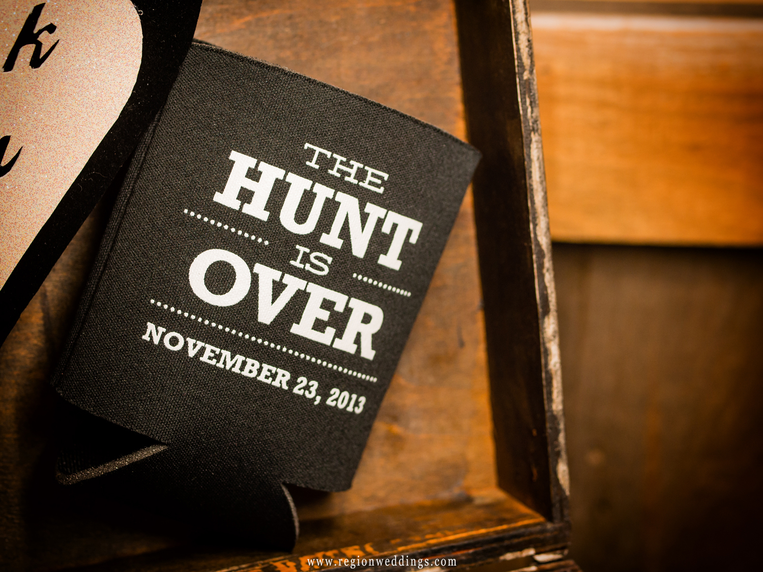Hunting and fishing themed wedding decorations.