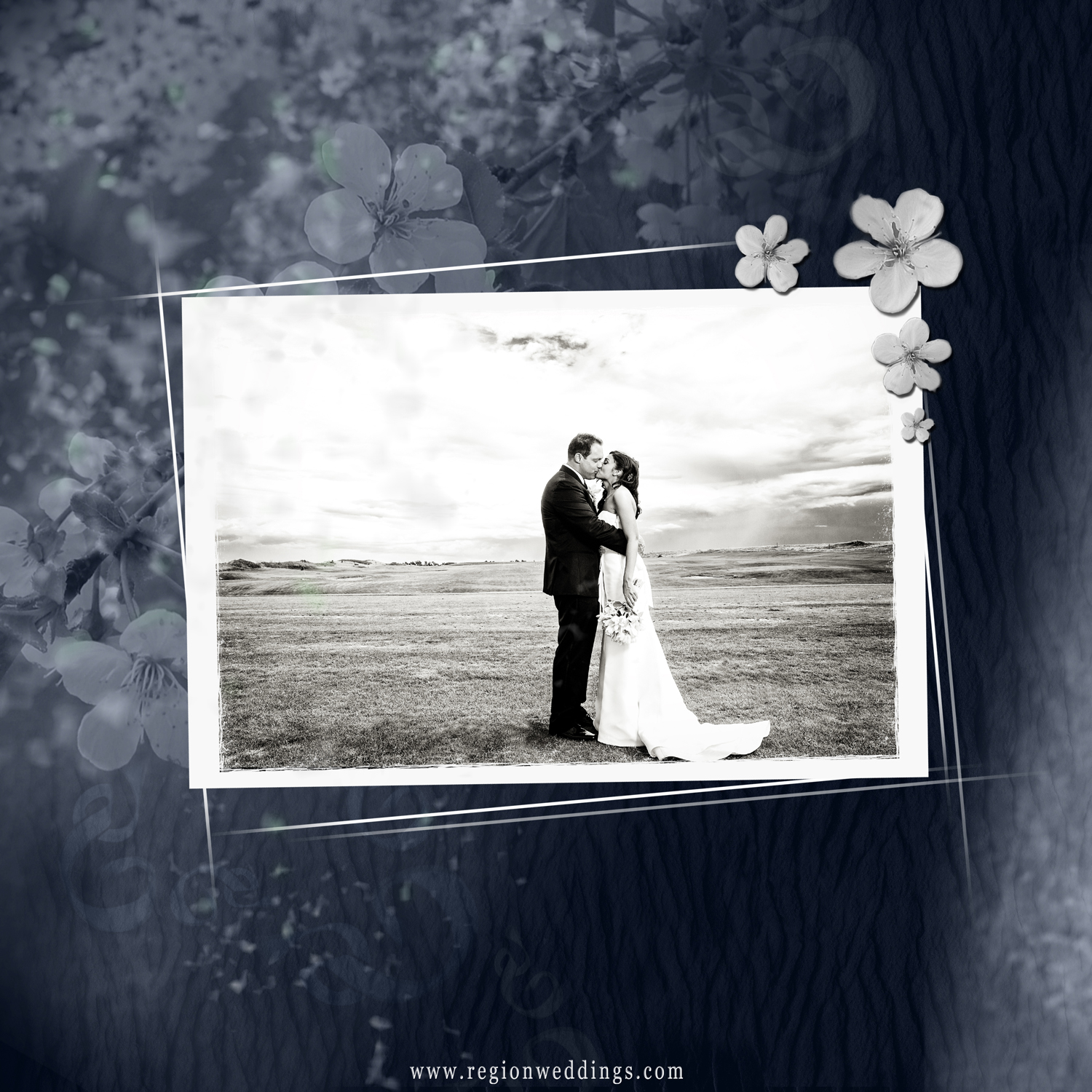 The back cover for a wedding album with a blue and white flower design.