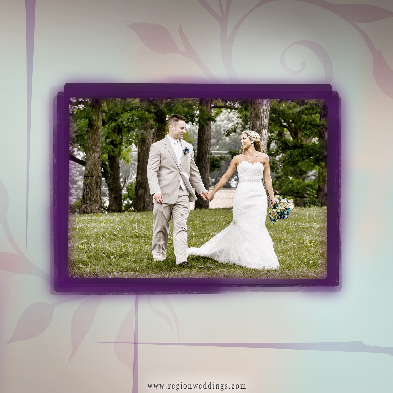 The back cover of a wedding album featuring a bride and groom walking in a field at the Lake County Fairgrounds in Crown Point, Indiana.