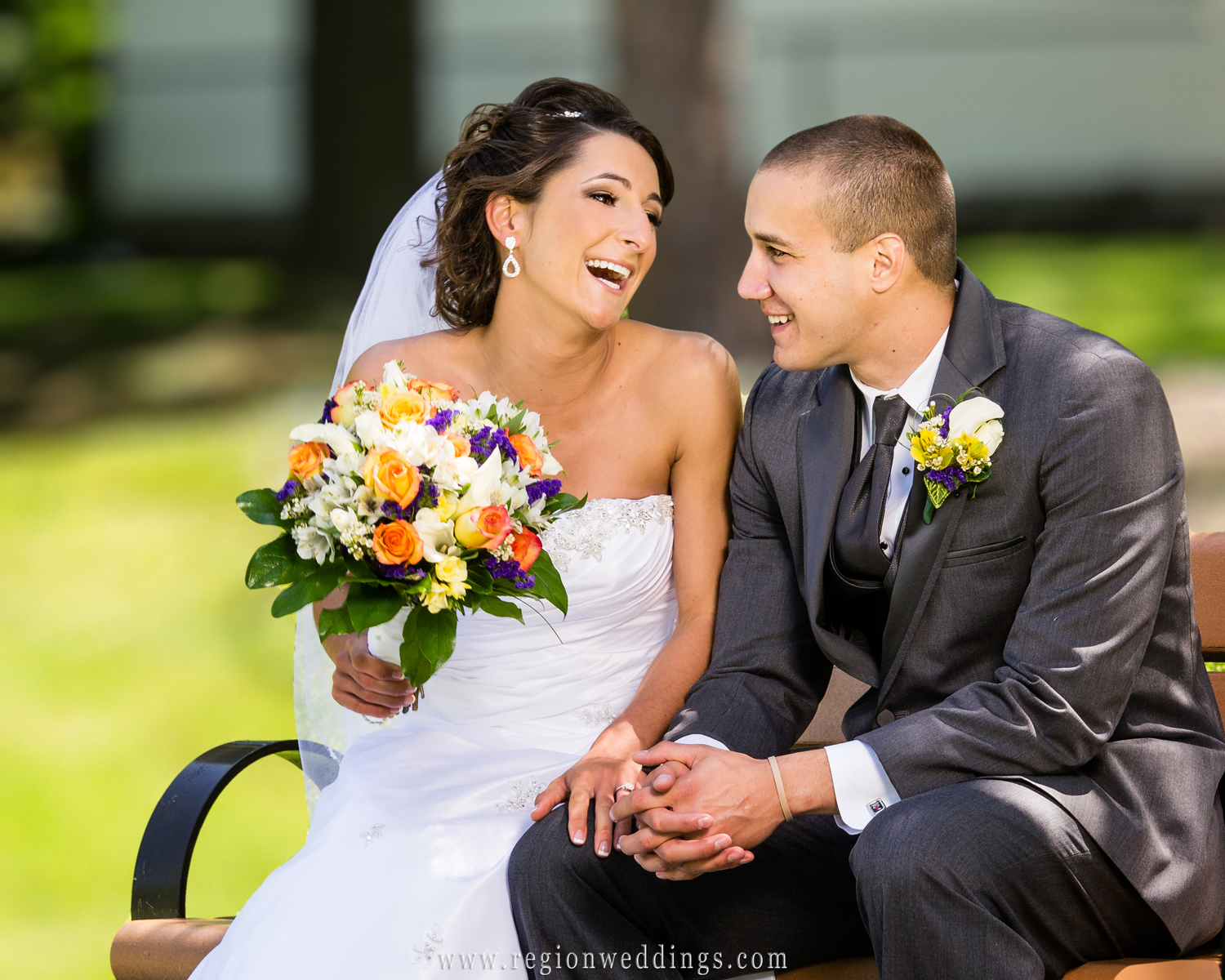 A candid moment between a newly married couple sitting on a park bench in Thornton, Illinois.