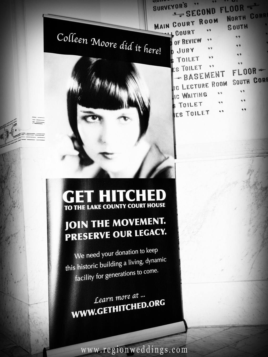 Get Hitched promotional poster for the Lake County Courthouse.