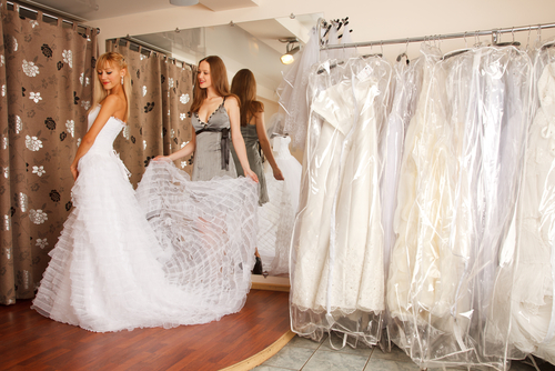 Wedding dress shopping.