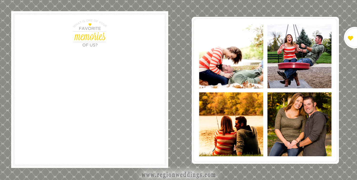 Two page spread featuring a Favorite Memories section with engagement pictures on the opposite side.