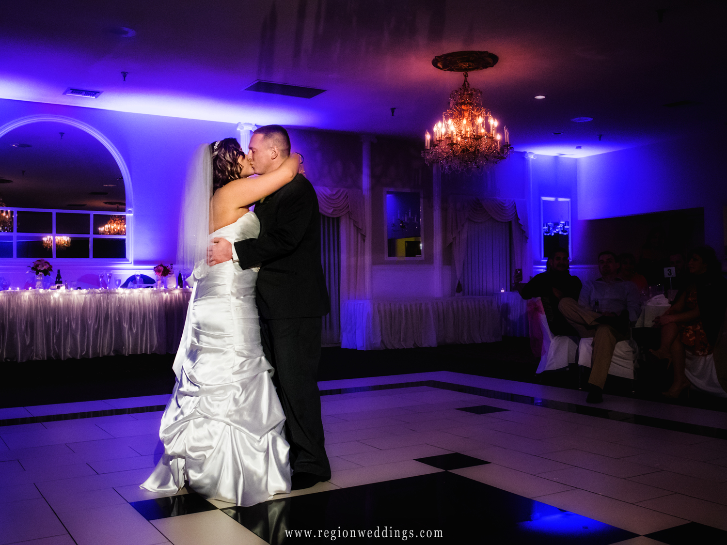 The bride and groom during their first dance at The Dream Palace in Lynwood, Illinois.