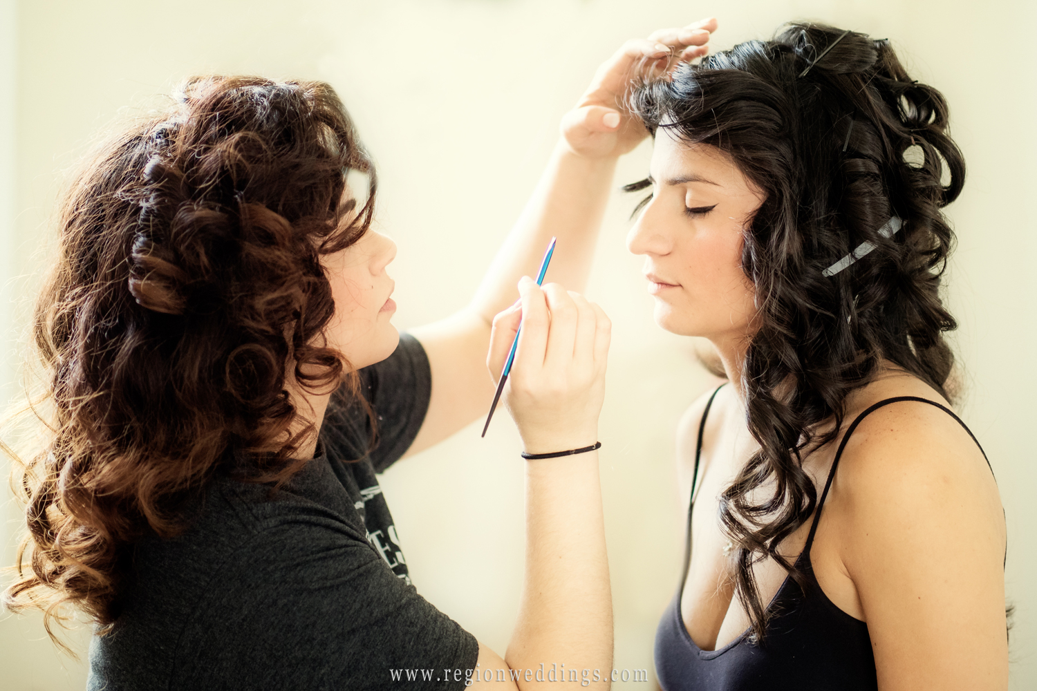 In the make up chair on wedding day.