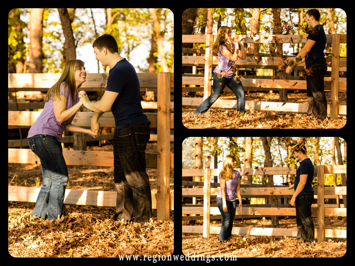 A young couple has a leaf fight at County Line Orchard for their engagement photos.