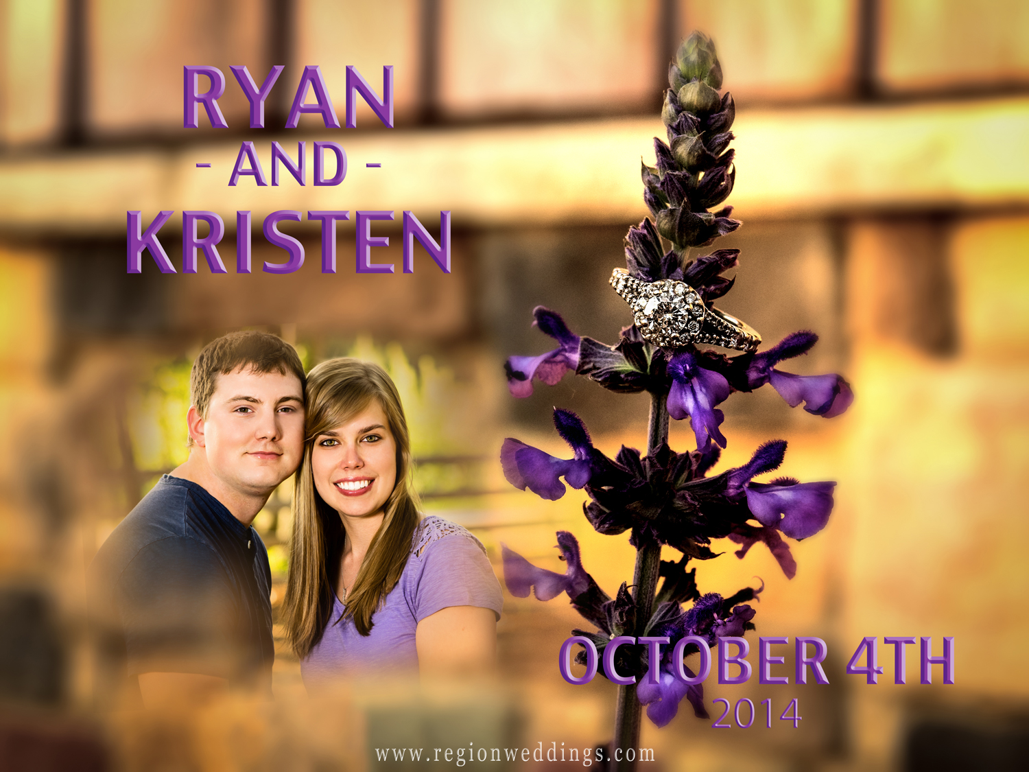 An engagement ring sits atop purple flowers with a photo of the couple and their wedding date.
