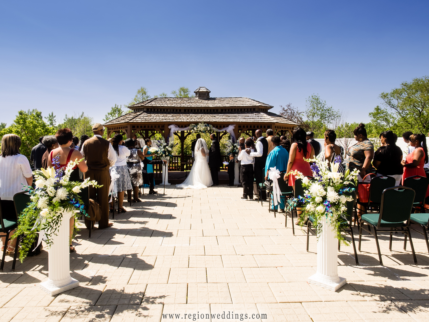 Outdoor wedding ceremony at the gazebo at The Patrician in Schererville, Indiana.