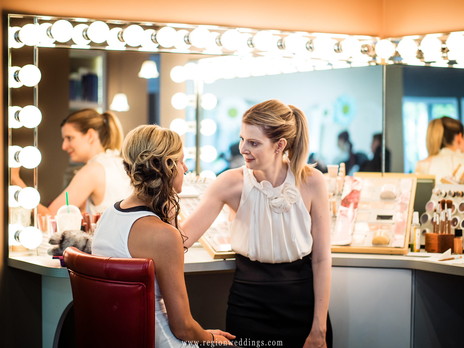 The bride gets ready for her wedding at Salon Amara in downtown Valparaiso.
