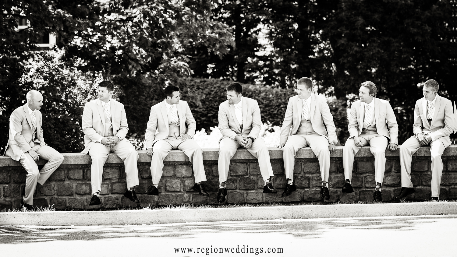 The groomsmen relax before the wedding ceremony at Aberdeen.