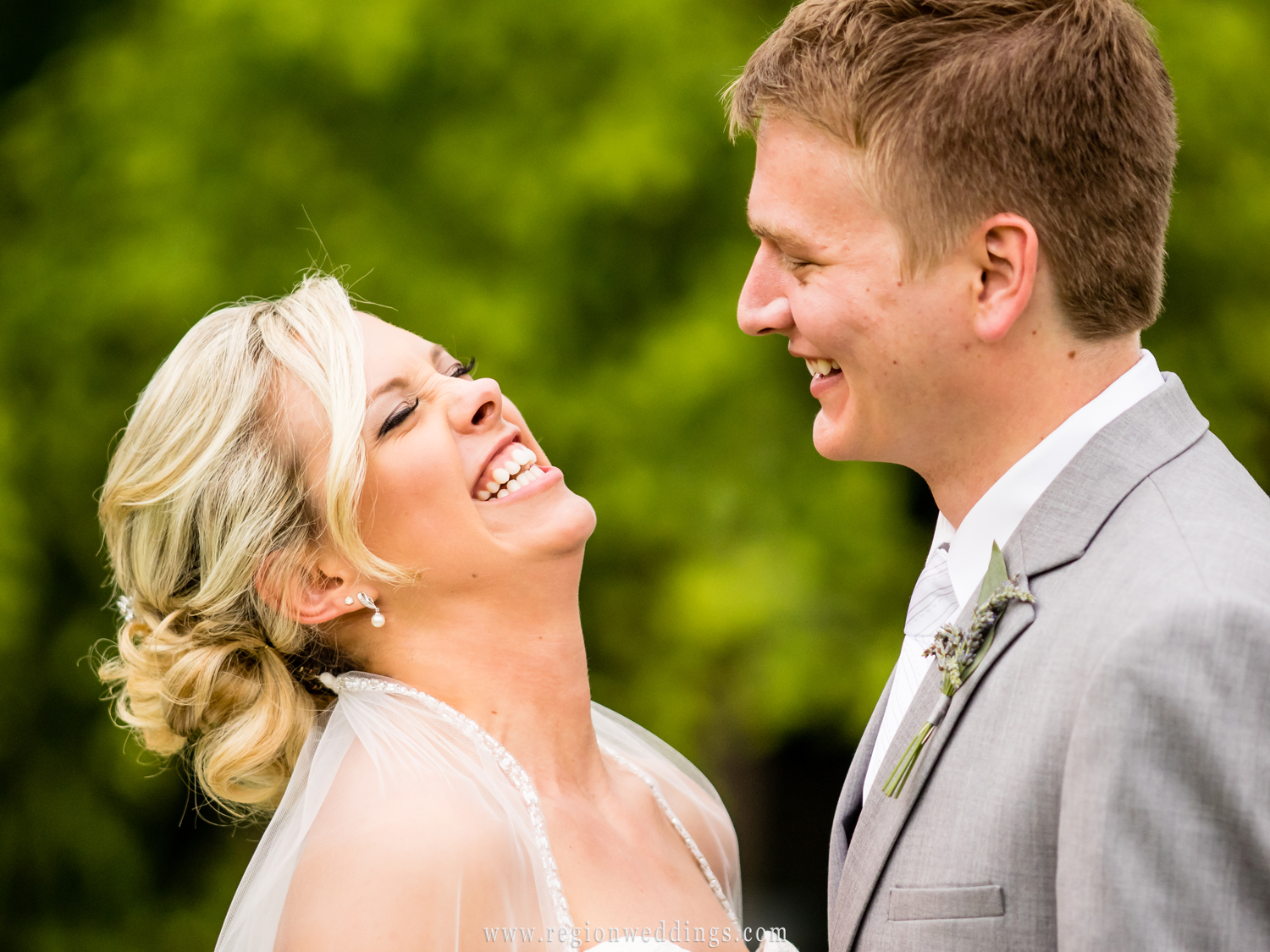 A candid, fun moment between the bride and the groom.