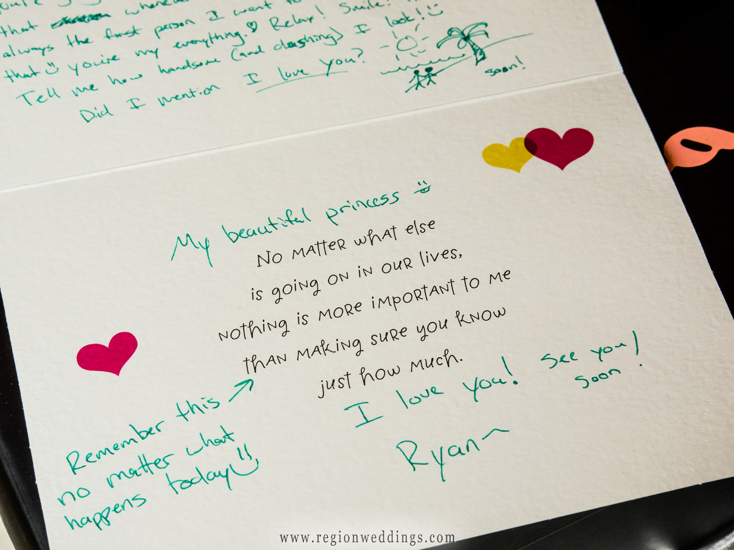 Groom's love letter to his bride.