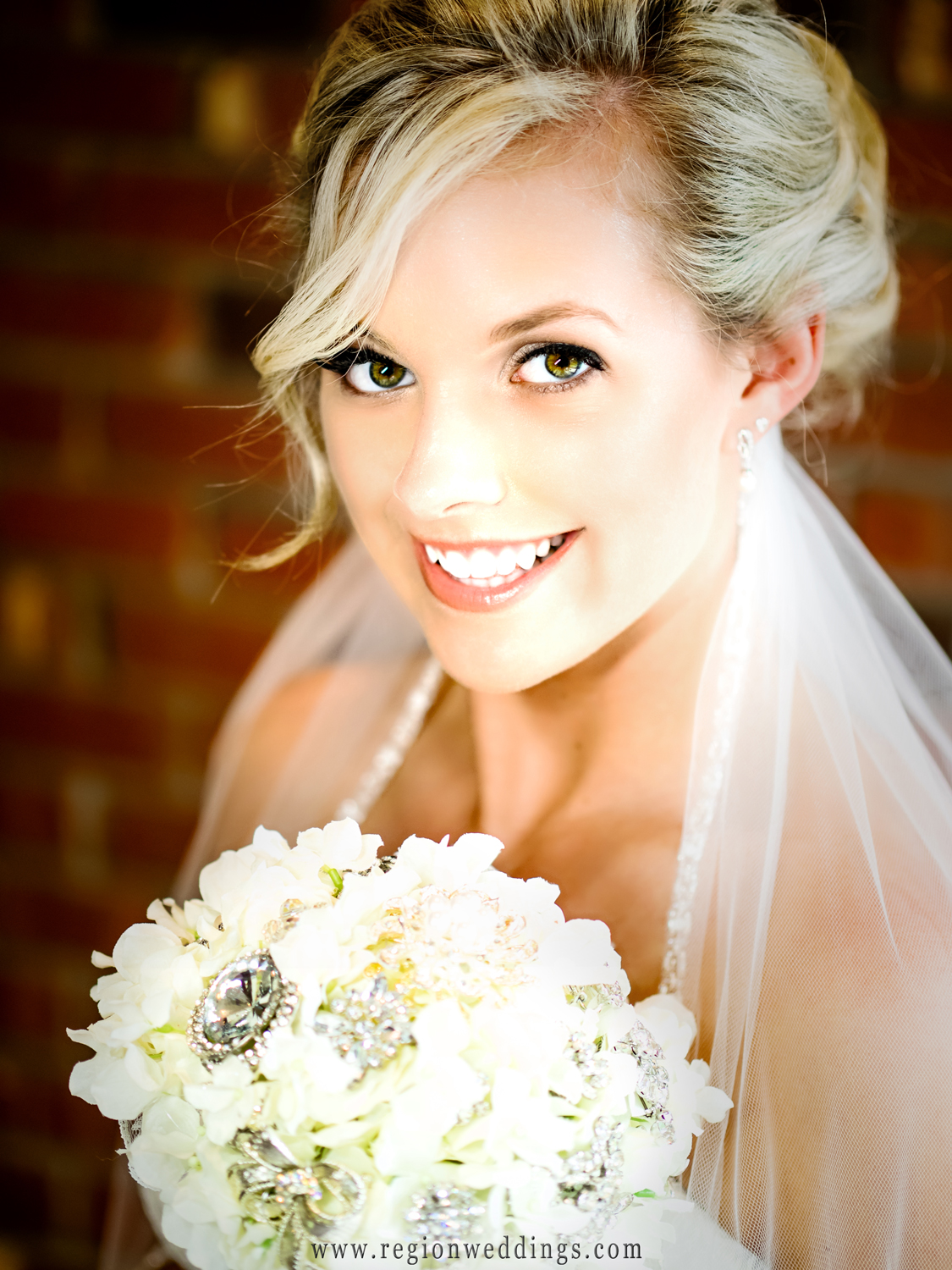 Portrait of the bride at the Sandy Pines Condo in Demotte.