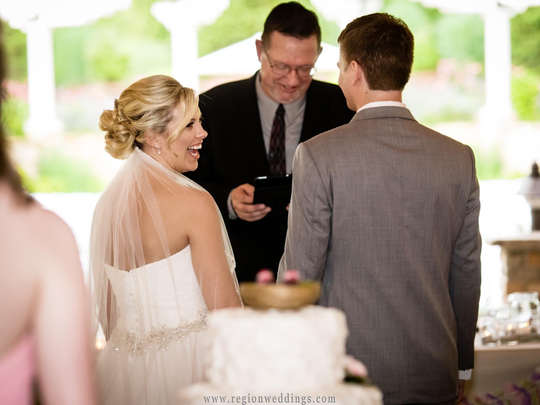 Wedding ceremony at Sandy Pines Pavilion.