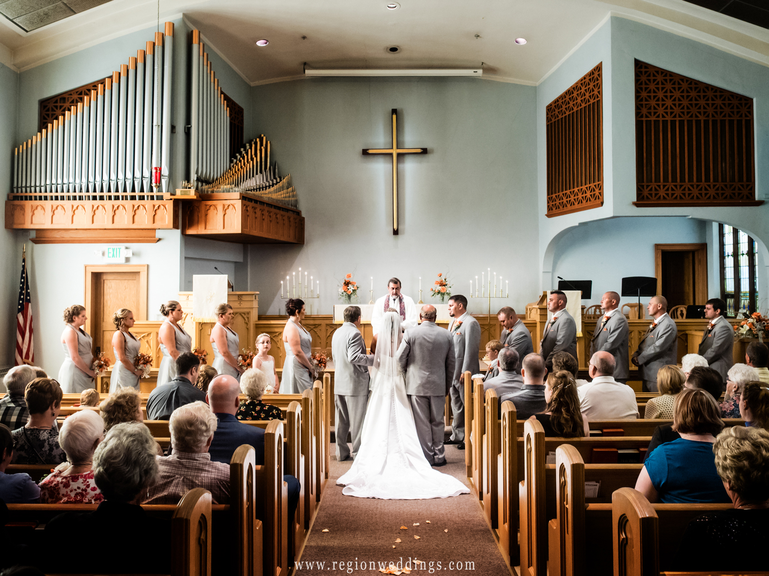 Wedding ceremony at Lowell Methodist Church.