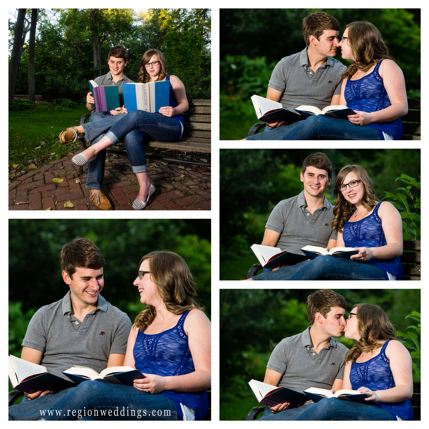A young couple reads Harry Potter for their engagement photos.