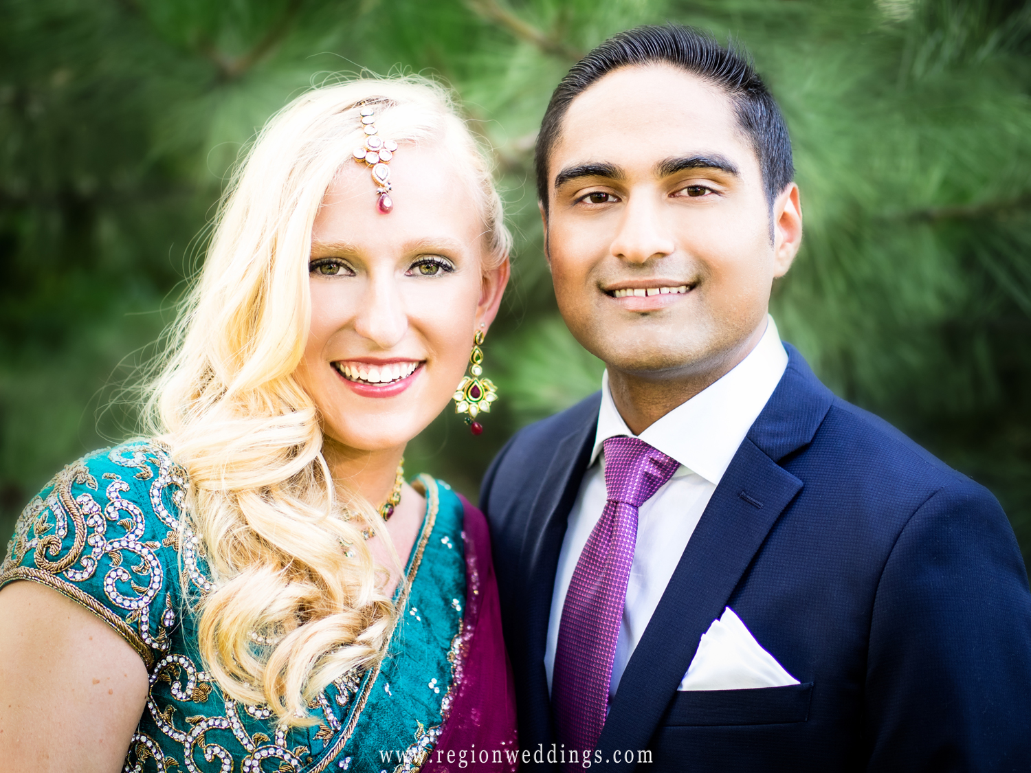 Indian and American bride and groom at their engagement party.