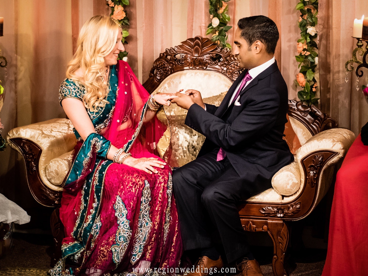 Exchanging of the rings at an Indiana American engagement ceremony.
