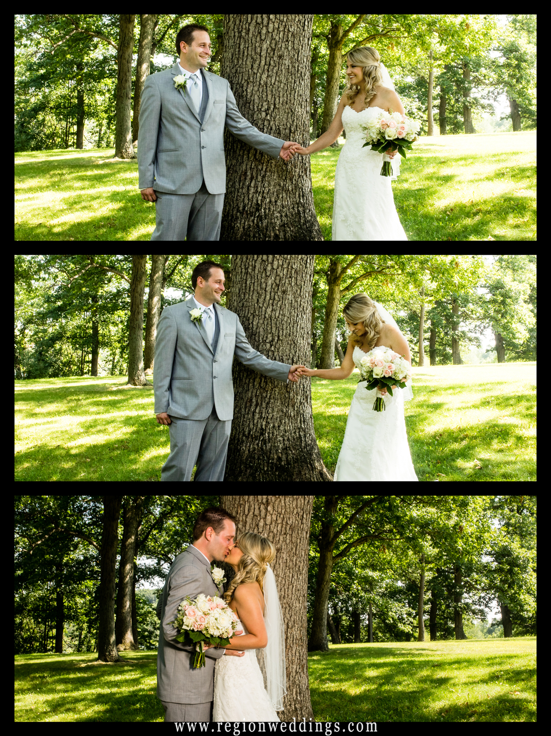 A montage of images from an bride and groom's first look at Lemon Lake Park.