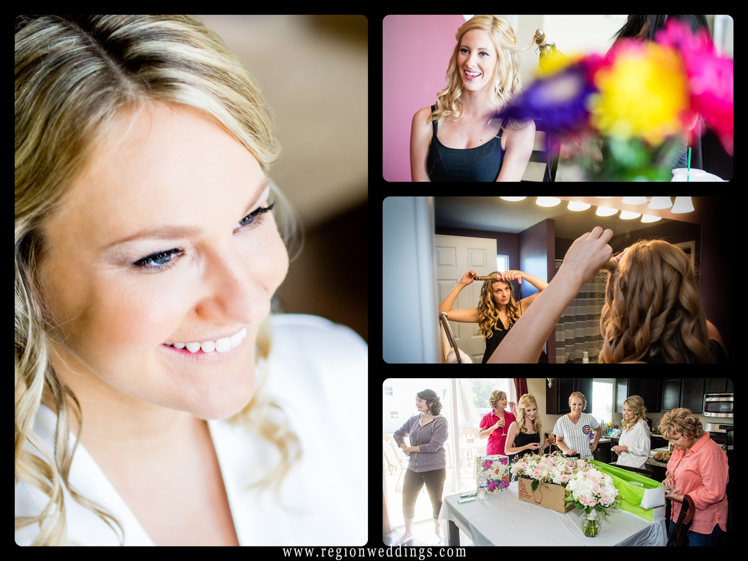 The bride and her bridesmaids get ready for her big day at her home in Crown Point, Indiana.