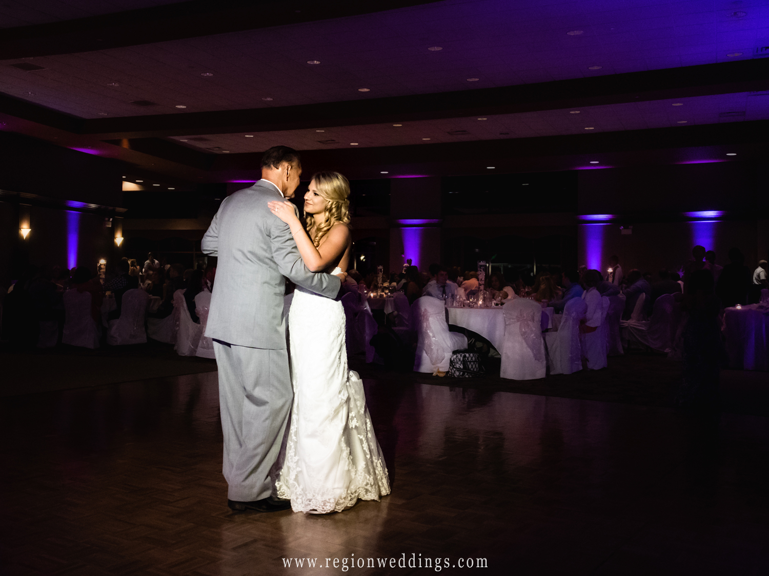 Father and daughter on the dance floor at the Halls of St. George.