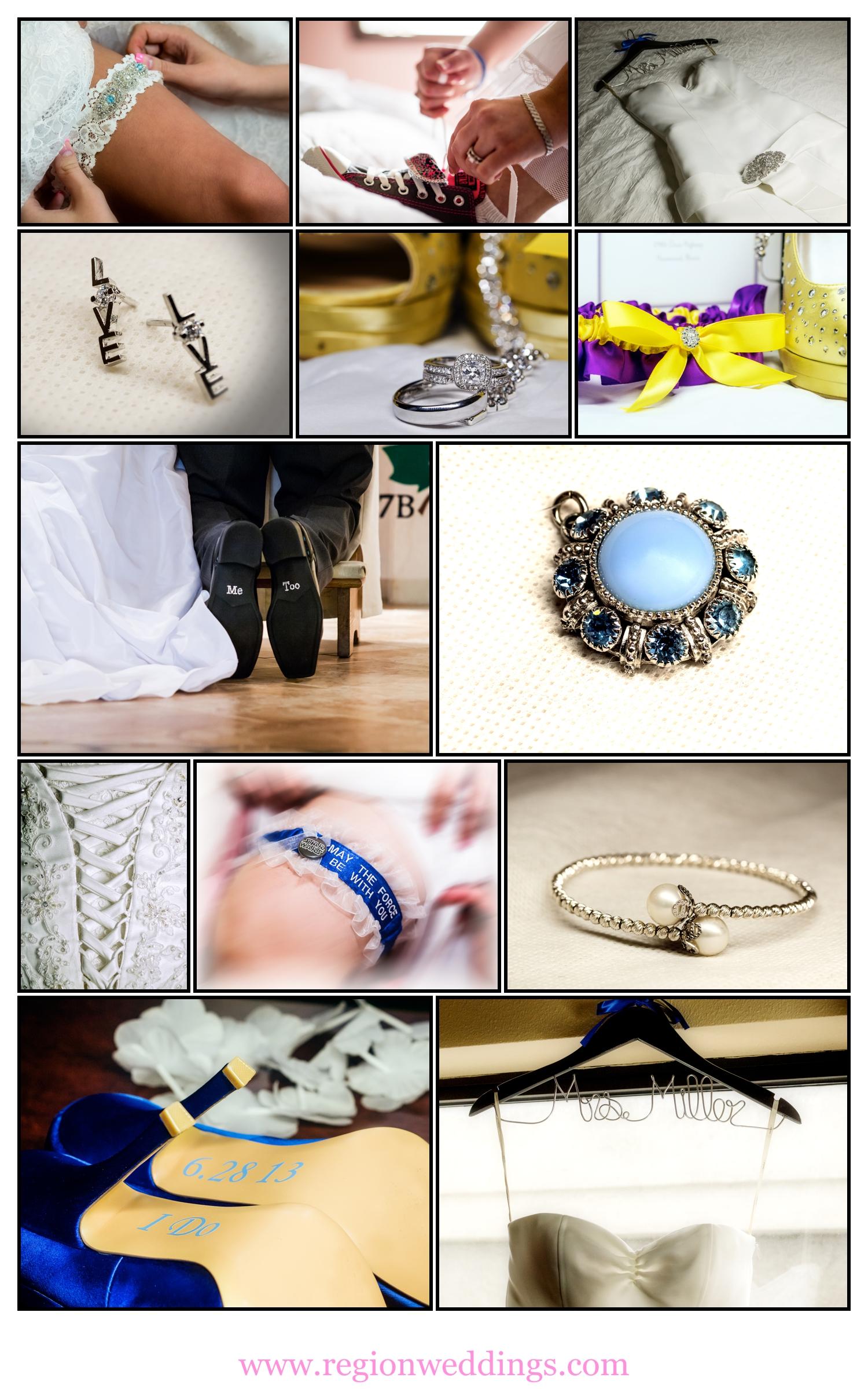 Wedding accessory photo collage.
