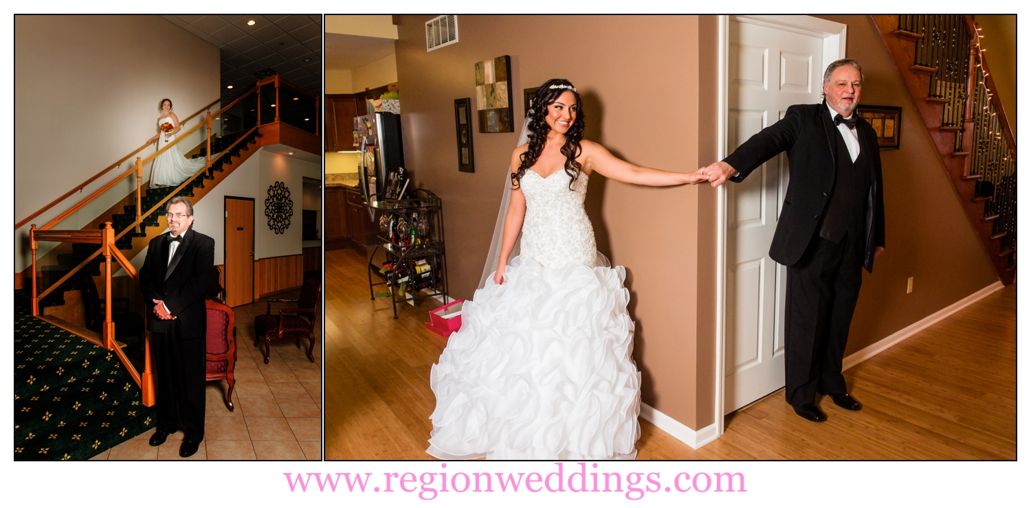 Father and daughter wedding day first look photo collage.