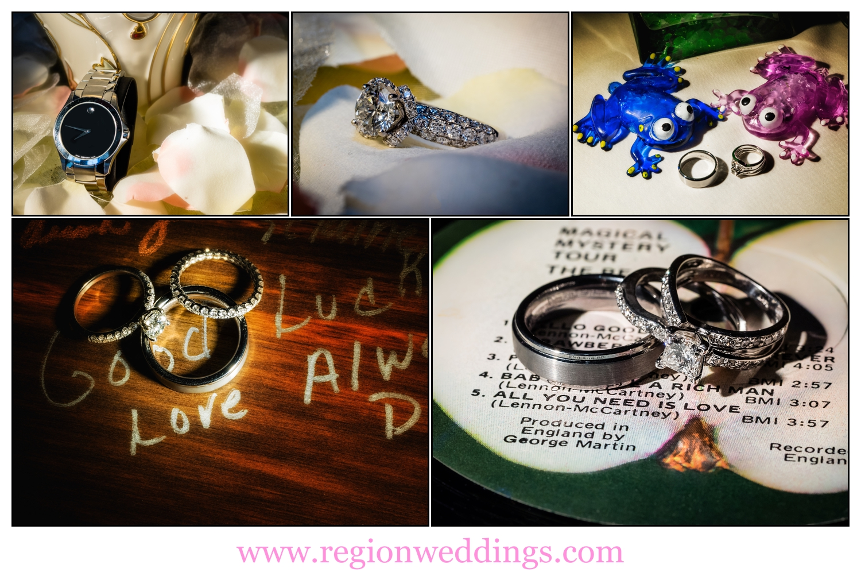 Wedding ring photo collage.