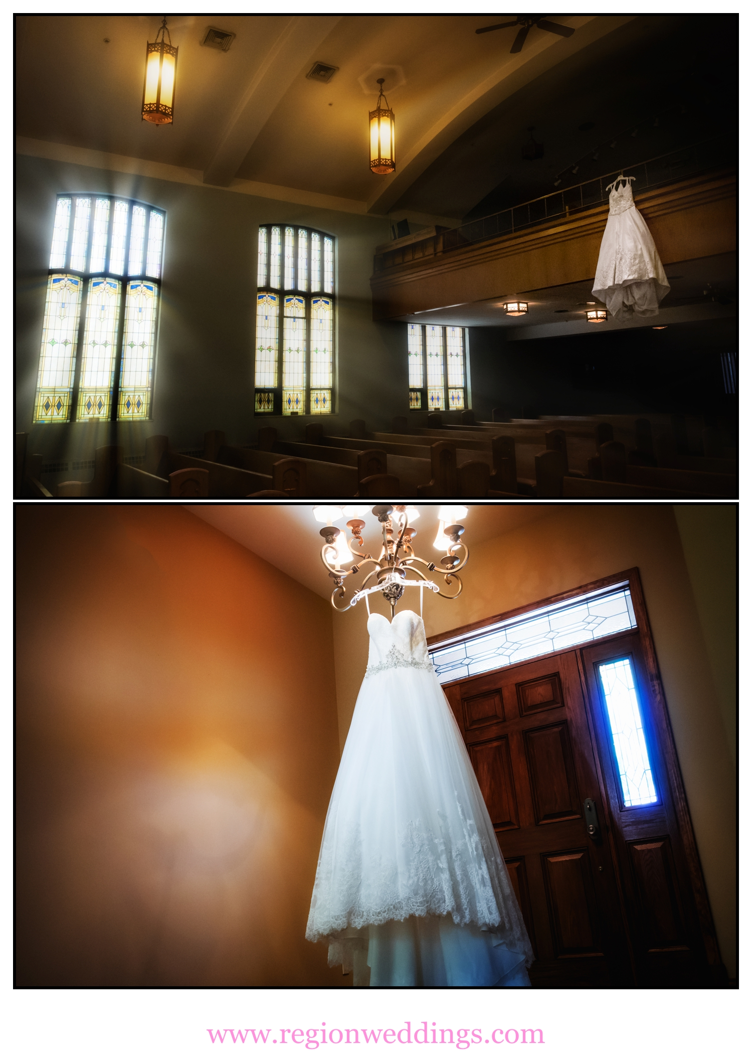 Wedding dress photo collage.
