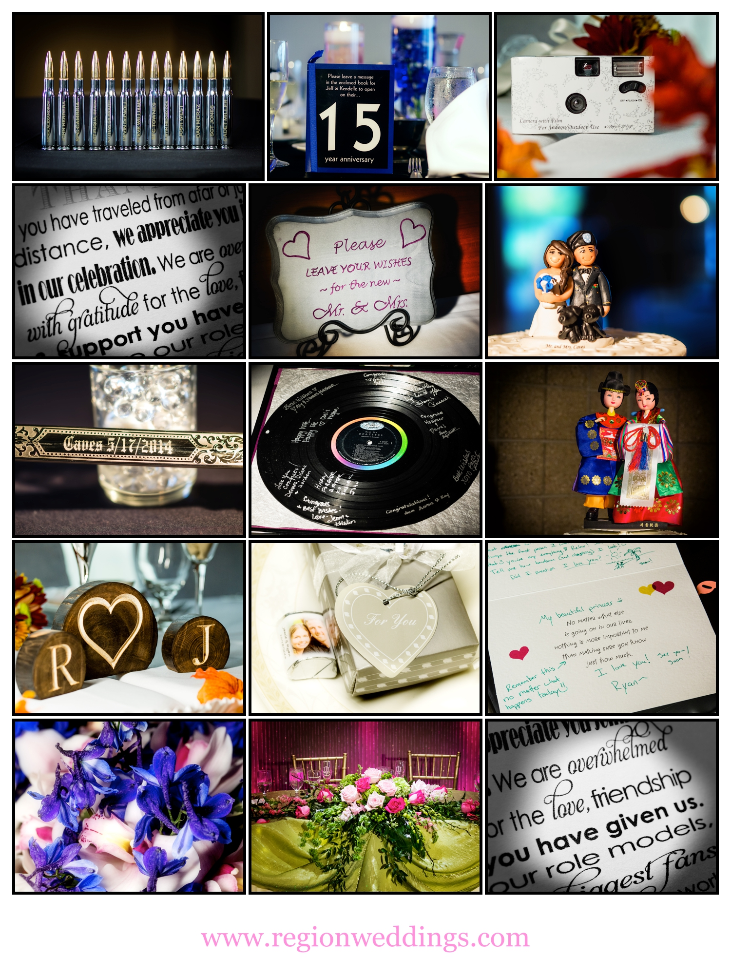 A photo collage of wedding decorations