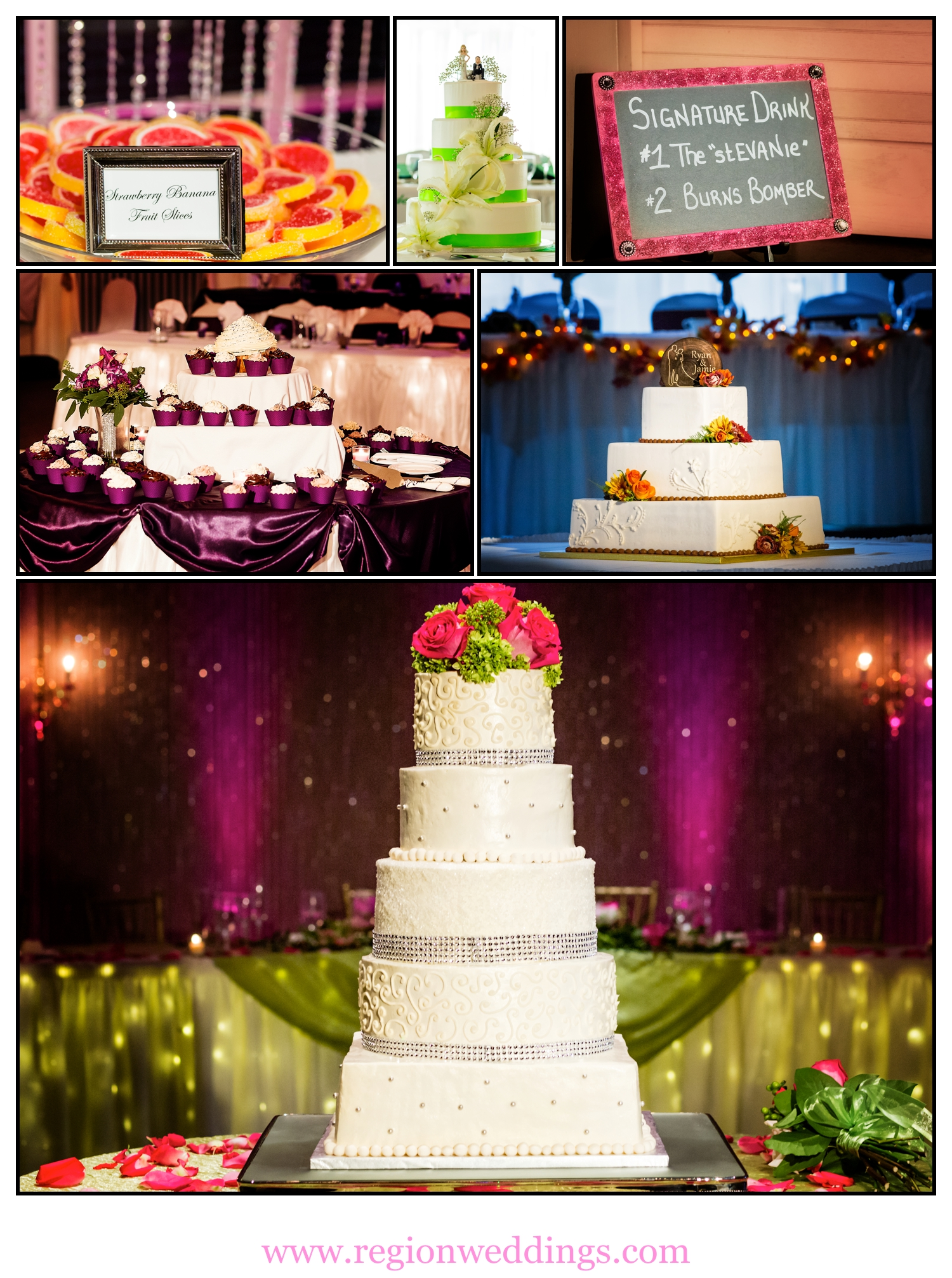 Wedding cakes and treats photo collage.