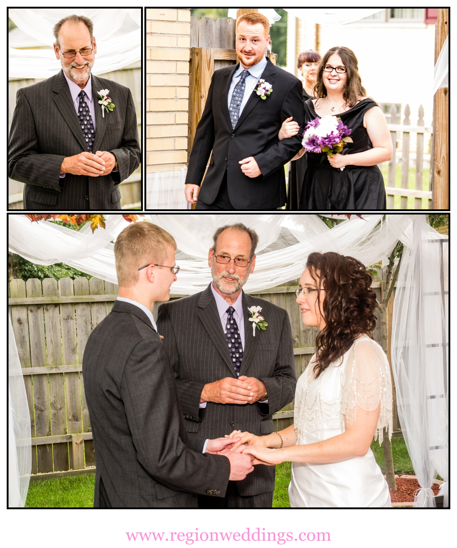 Photo collage of an intimate outdoor wedding ceremony.