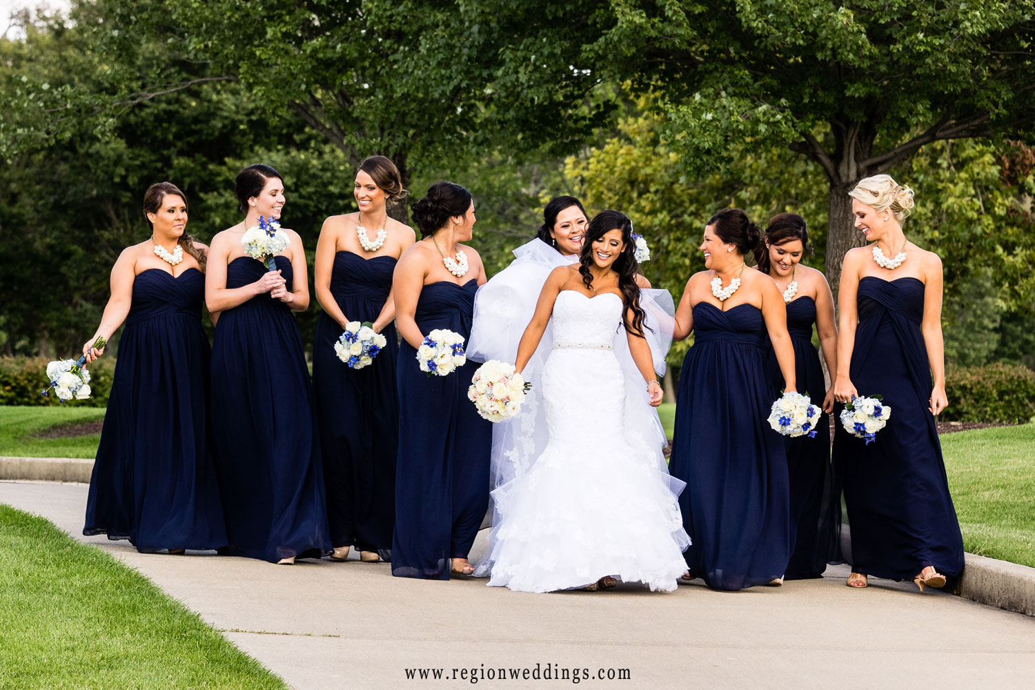 The bridesmaids go for a walk at Sand Creek Golf Course.