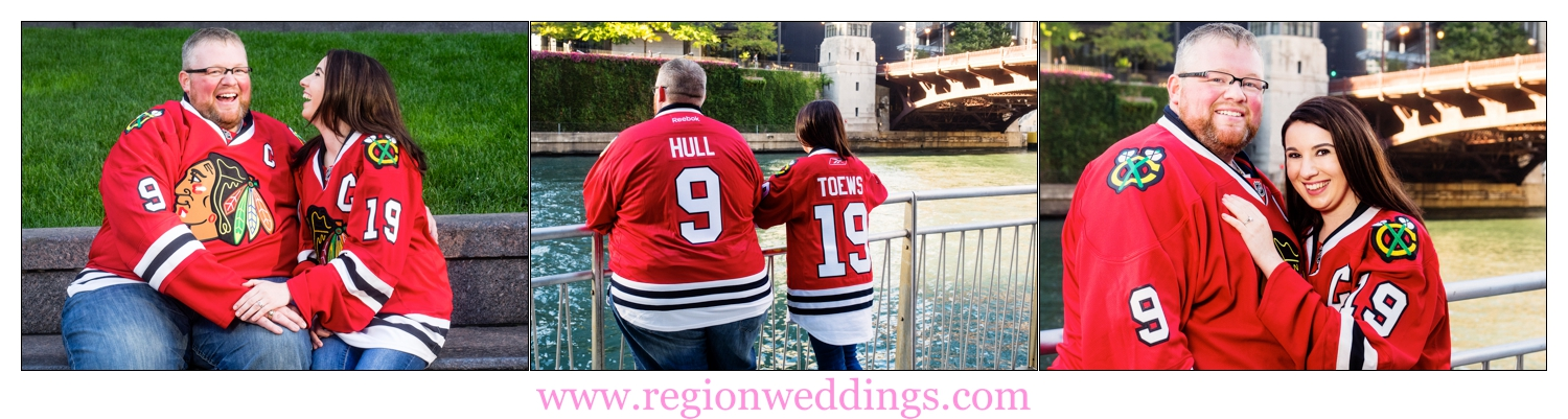 The future bride and groom wear Chicago Blackhawks jerseys that show off their wedding date.
