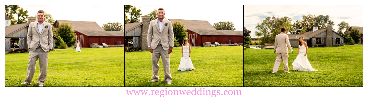 First look for the bride and groom at The Red Barn Experience.