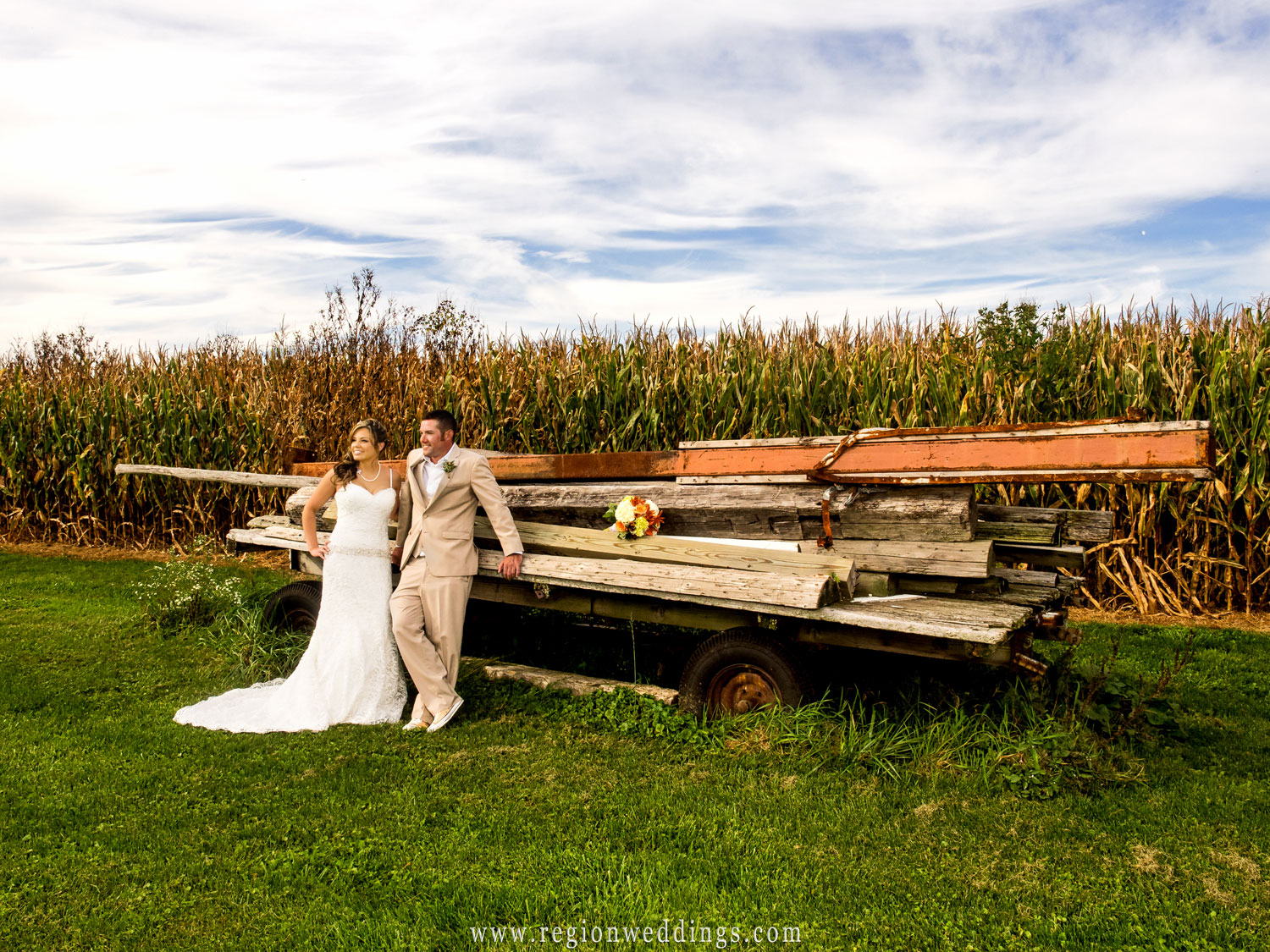 Rustic Indiana field wedding photo.