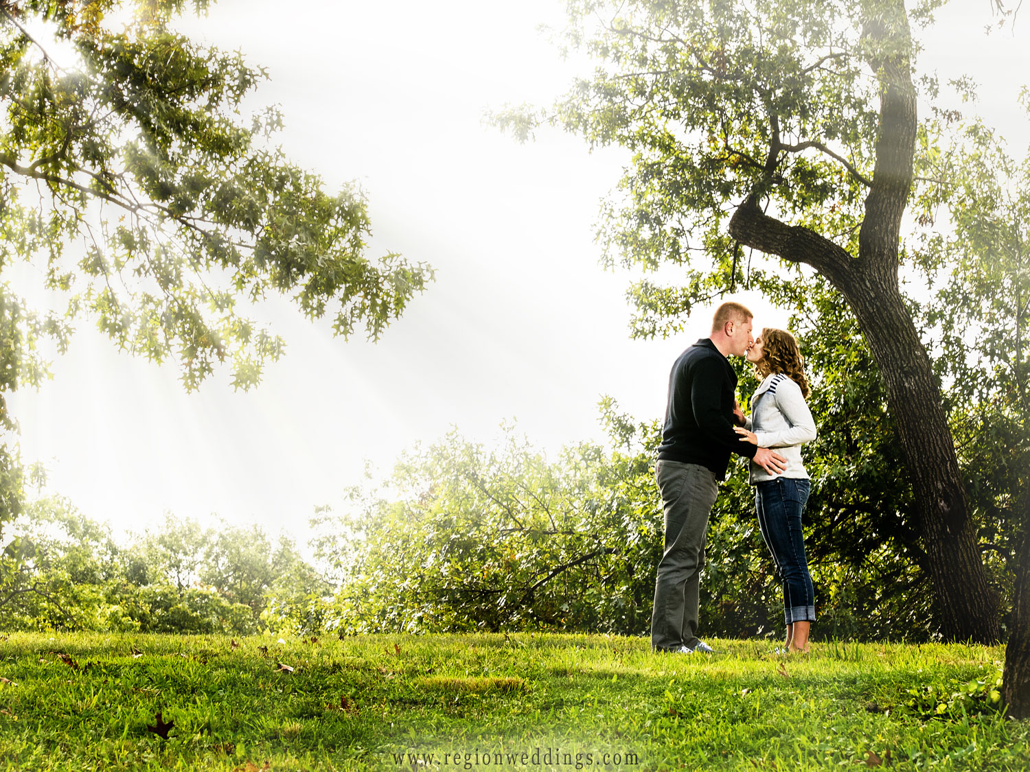 Sun streams through the trees as a couple kisses in this romantic engagement photo.