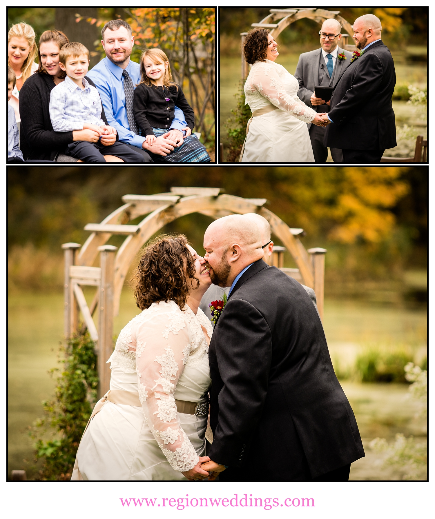 An outdoor wedding ceremony at Taltree Arboretum.