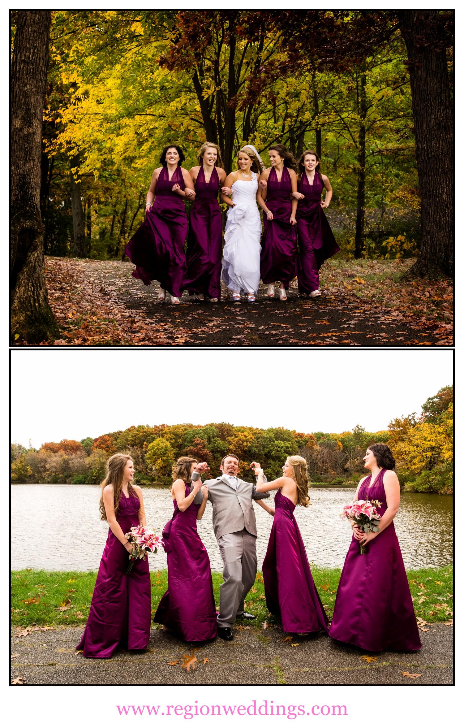 Fun, Fall wedding photos at Lemon Lake Park.
