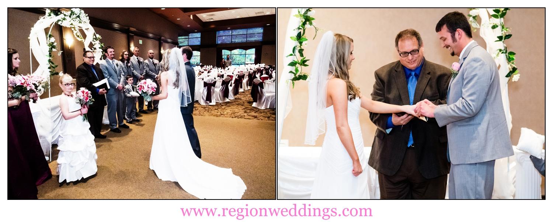 Indoor wedding ceremony at the Halls of Saint George.