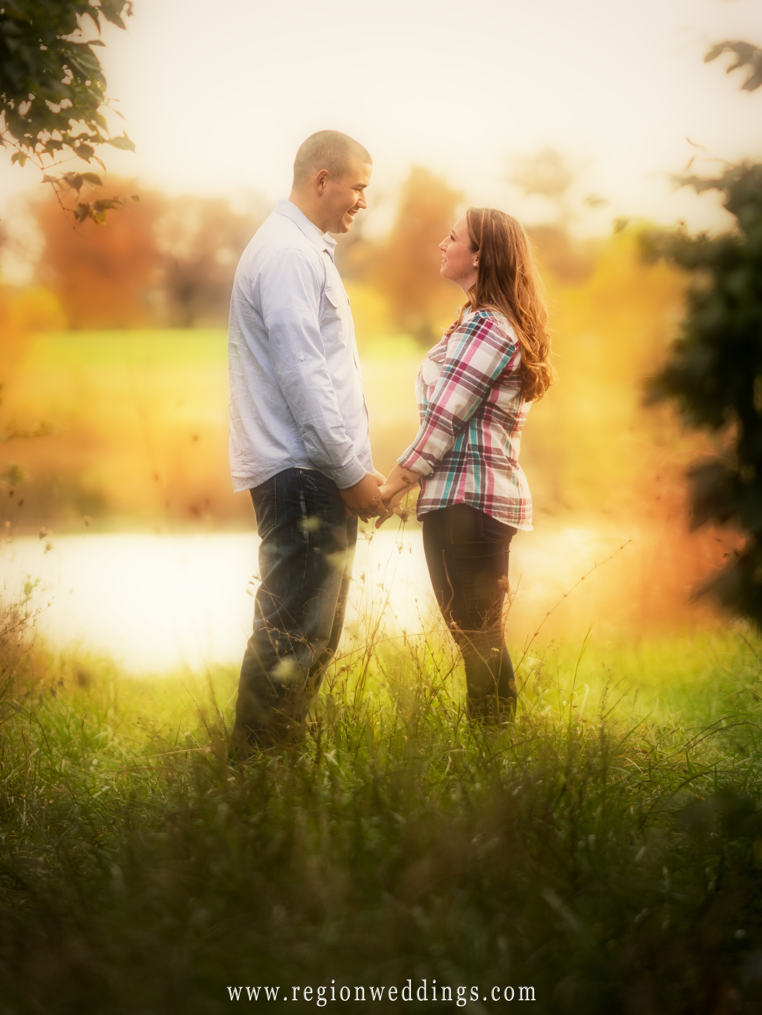 A romantic natural light engagement photo shot in soft focus.