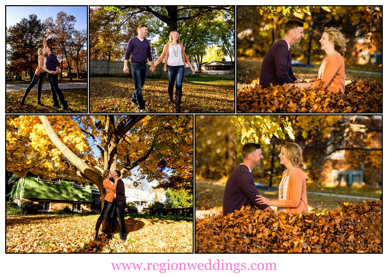 A collection of Fall engagement photo in a Crown Point neighborhood.