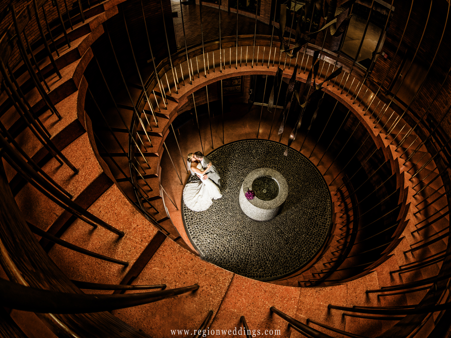 The iconic spiral staircase at The Chapel of the Resurrection at Valparaiso University
