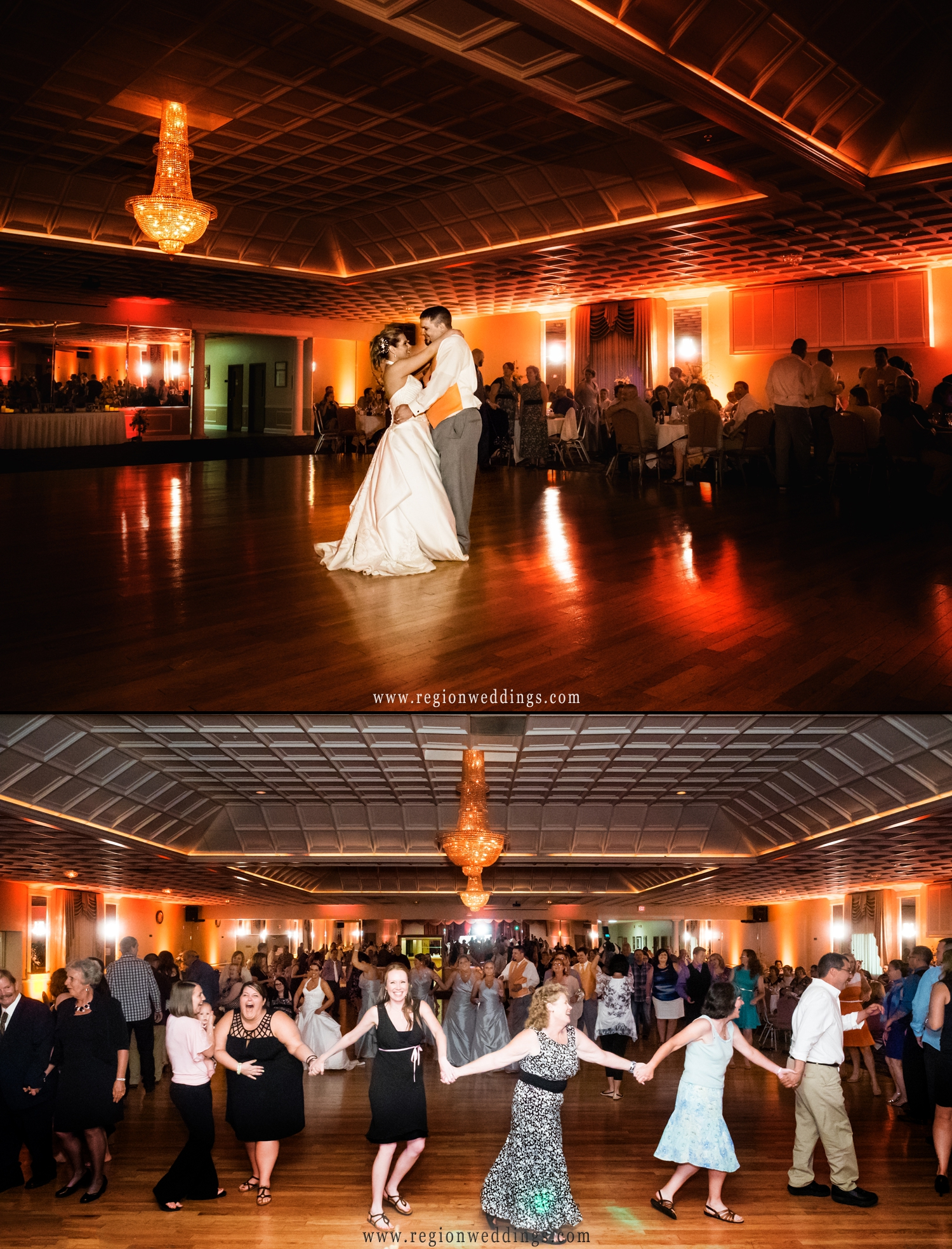 The large illuminated dance floor of Macedonian Hall in Crown Point.