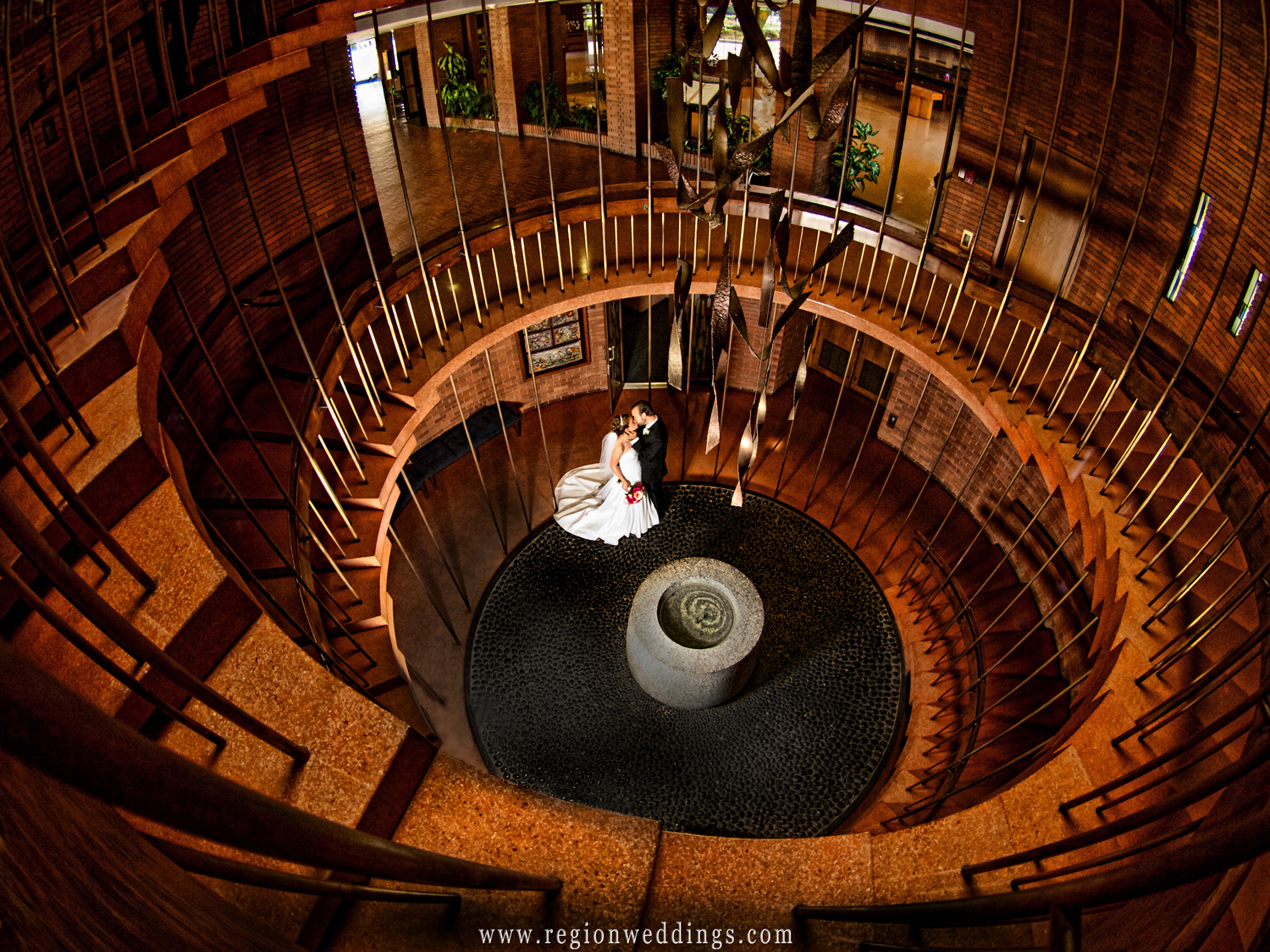 The spiral staircase at Valparaiso University's Chapel of the Resurrection.