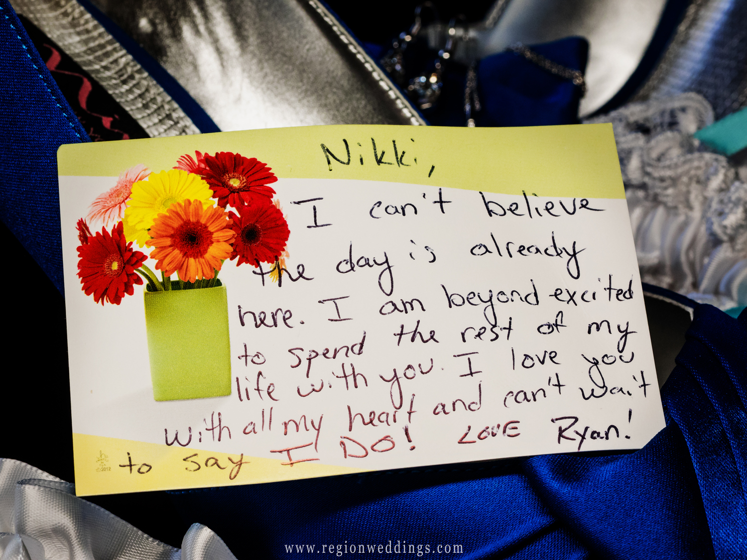 The groom's handwritten love note to his bride to be.