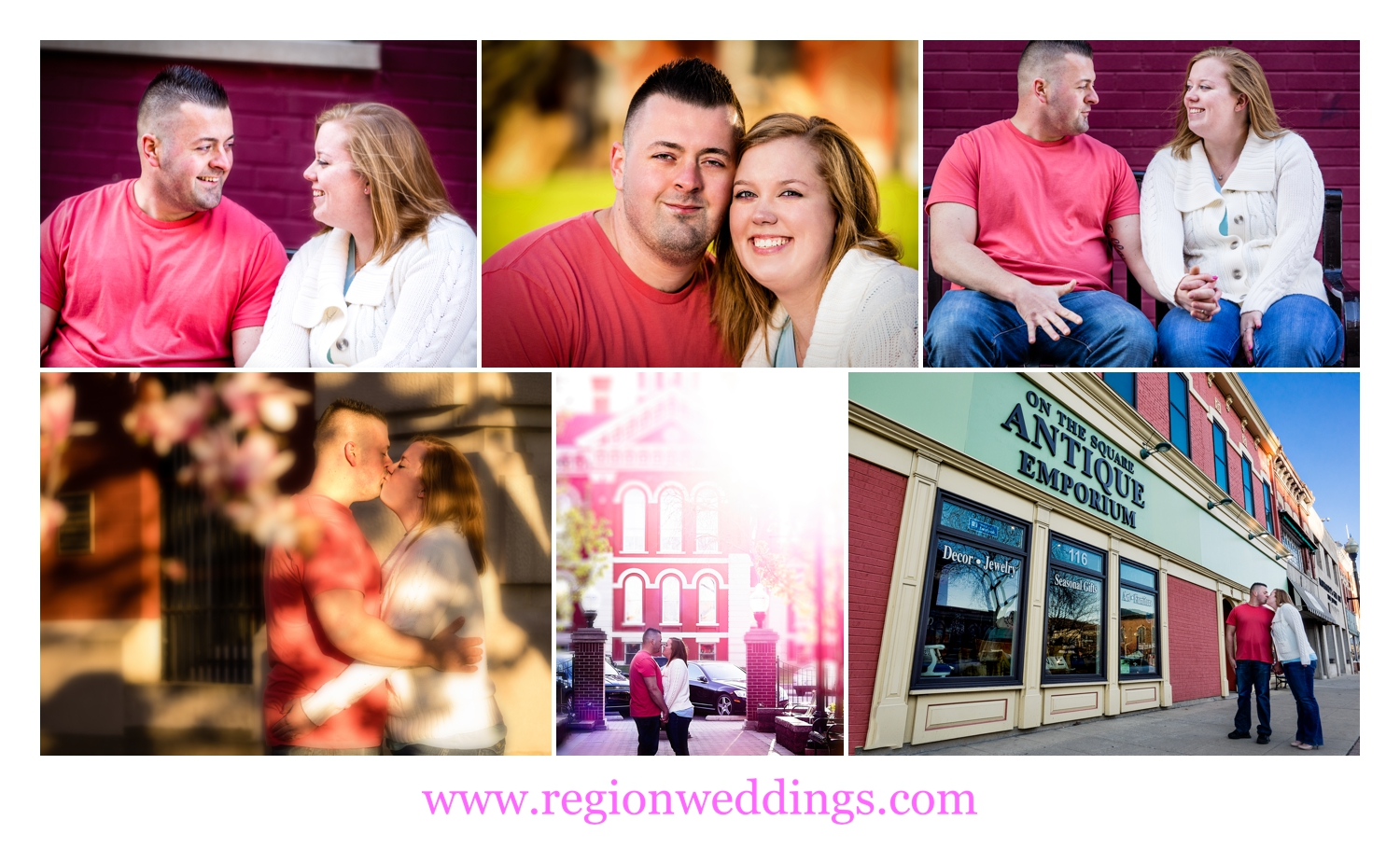 Collage of Crown Point engagement photos.