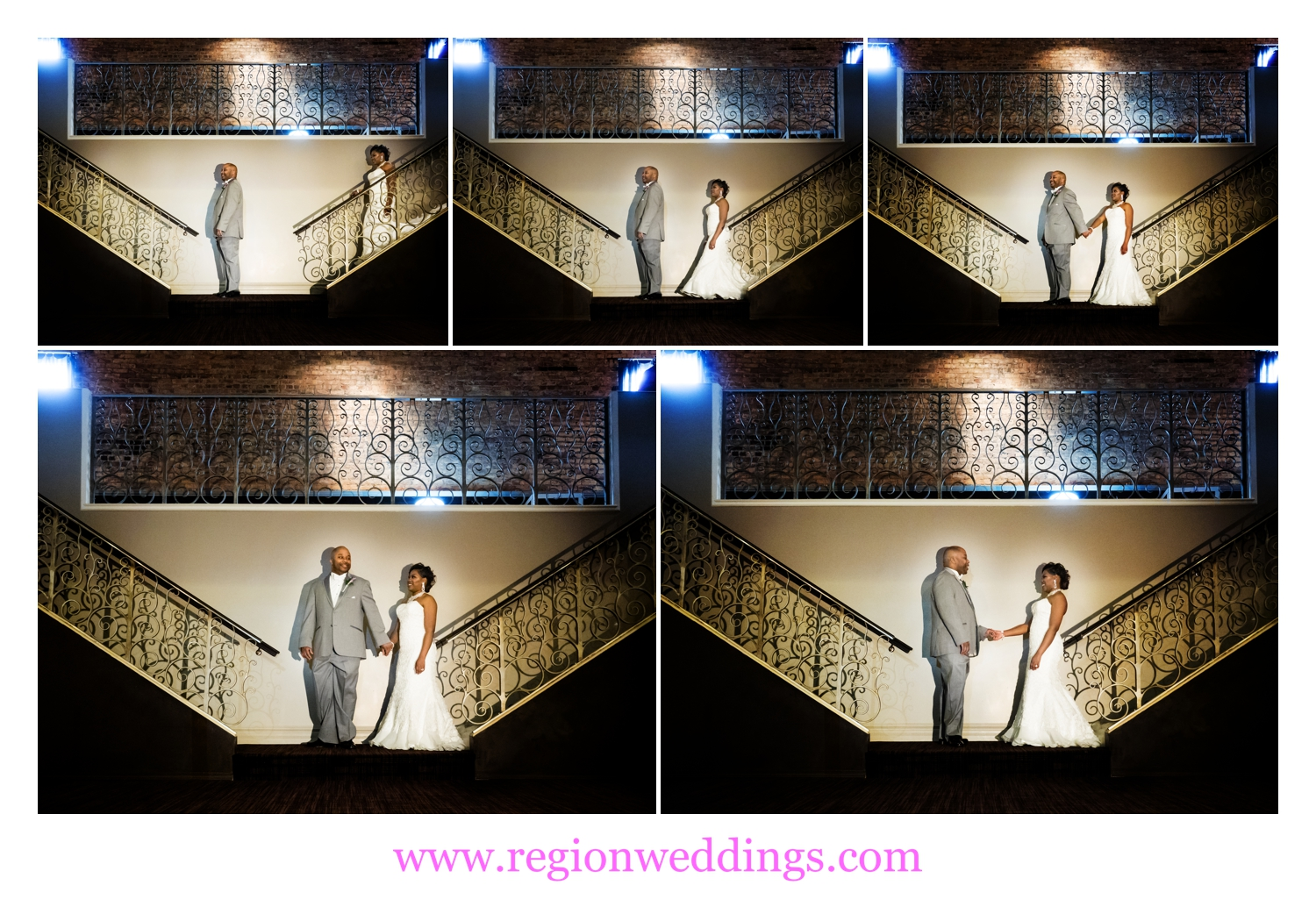 The bride and groom have their first look at bottom of The Allure staircase.